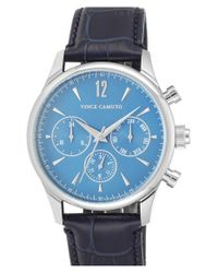 Vince Camuto | Blue Multifunction Embossed Leather Strap Watch for Men | Lyst