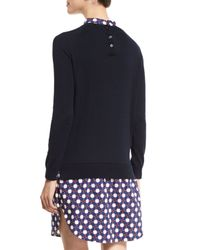 Carven - Blue Wool Button-back Pullover Sweater - Lyst