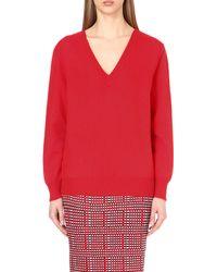 Victoria Beckham Red Double V-neck Wool Jumper
