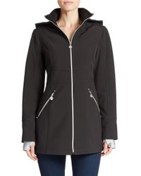 Betsey Johnson | Black Hooded Zip-front Anorak Coat | Lyst