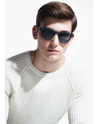 Mango White Cotton Chunky-Knit Sweater for men