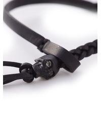 Alexander McQueen - Black Skull Woven Bracelet for Men - Lyst