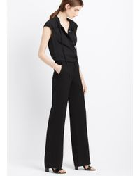 Vince Black Wide Leg Trouser With Leather Belt