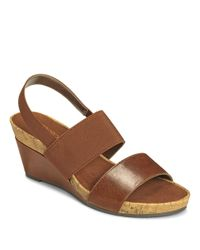 Aerosoles | Brown Green Light Slingback Wedge Sandals | Lyst