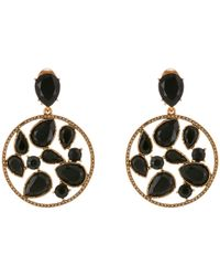 Oscar de la Renta | Black Round Multi-stone Clip-on Earrings | Lyst