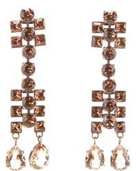 Lanvin - Metallic Crystal Drop Earrings - Lyst