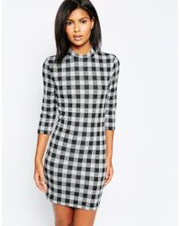 ONLY - Gray Nly Checked Bodycon 3/4 Sleeve Dress - Lyst
