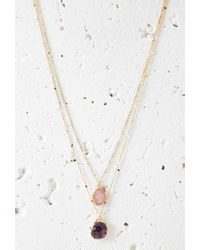 Forever 21 | Metallic Faux Geode Pendant Necklace Set | Lyst