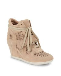 Ash - Natural Bowie Mesh & Suede Wedge Sneakers - Lyst