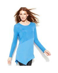 DKNY | Blue Mixedmedia Handkerchiefhem Tunic | Lyst