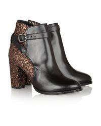 Markus Lupfer Brown Glitterfinish Leather Ankle Boots