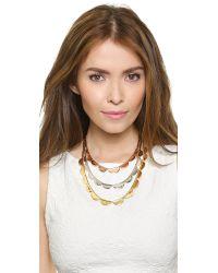 kate spade new york - Metallic Sweetheart Scallops Triple Strand Necklace - Metal Multi - Lyst