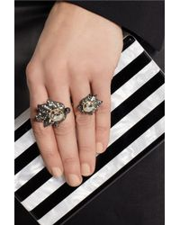 Lanvin   Metallic Blanche Pewtertone Crystal Ring   Lyst