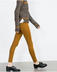 Zara | Brown Basic Zipped Leggings | Lyst
