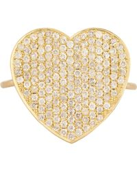 Jennifer Meyer | Metallic Women's Pave Heart Ring | Lyst