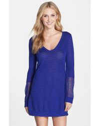 Tommy Bahama | Blue Variegated Texture Cover-up Beach Sweater | Lyst