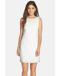 Eliza J | White Embellished Crepe Shift Dress | Lyst