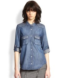 The Kooples - Blue Studded Denim Shirt - Lyst