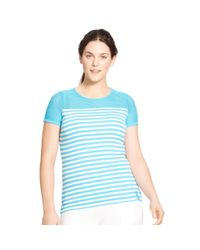 Ralph Lauren | Blue Striped Mesh-yoke Top | Lyst