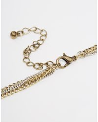 ASOS - Metallic Multi Row Choker Spear Necklace - Lyst