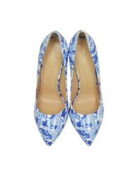 Charlotte Olympia Ming Blue Koi Print Patent Leather Court Pump