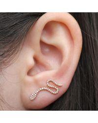 Anne Sisteron - Pink 14kt Rose Gold Diamond Snake Ear Cuff - Lyst