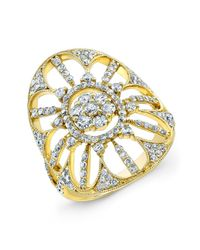 Anne Sisteron - Metallic 18kt Yellow Gold Diamond Shield Ring - Lyst
