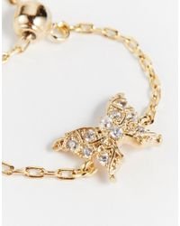 ASOS | Metallic Limited Edition Adjustable Fine Chain Butterfly Ring | Lyst