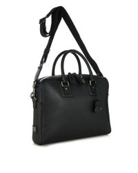 Dolce & Gabbana Black Dauphine Leather Briefcase for men