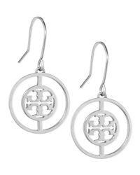 Tory Burch | Metallic Deco Logo Drop Earrings | Lyst