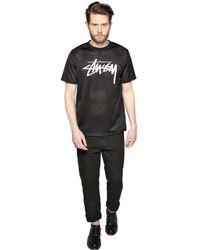 Stussy Black Stock Logo Mesh T-Shirt for men