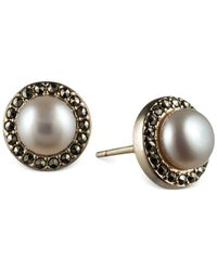 Judith Jack | Metallic 14k Gold Over Sterling Silver Marcasite (2/5 Ct. T.w.) And Freshwater Pearl (6mm) Button Earrings | Lyst