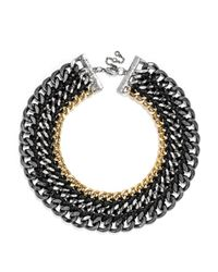 BaubleBar - Black Triple Chain Collar - Lyst
