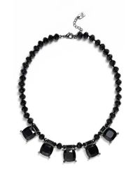 Lauren by Ralph Lauren | Black Crystal Bib Necklace | Lyst