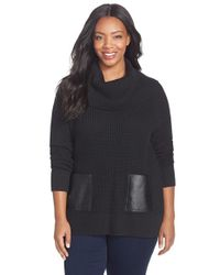 MICHAEL Michael Kors | Black Faux Leather Pocket Cowl Neck Sweater | Lyst