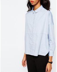 Monki - Blue Oversized Shirt - Lyst