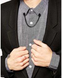 ASOS - Black Collar Tips With Skull for Men - Lyst