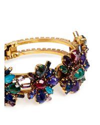 Erickson Beamon - Multicolor 'hyperdrive' Swarovski Crystal Floral Cluster Bangle - Lyst