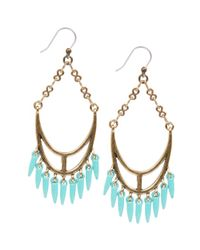 Lucky Brand - Blue Goldtone Turquoise Spike Chandelier Earrings - Lyst