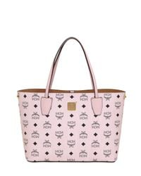 MCM Pink Small Printed Faux Leather Tote Bag