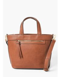 Mango | Brown Zip-detail Tote Bag | Lyst
