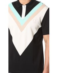 Fred Perry Black Wide Chevron Pique Shirt for men