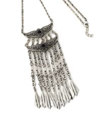 Forever 21 - Metallic Tiered Etched Pendant Necklace - Lyst
