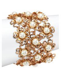 Tory Burch | Metallic Katie Flower Mesh Bracelet | Lyst