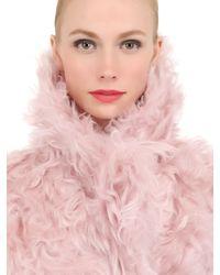 Awake Pink Gradient Mohair Fur Coat