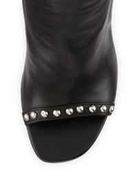 Saint Laurent Black Studded Leather Peep-toe Bootie