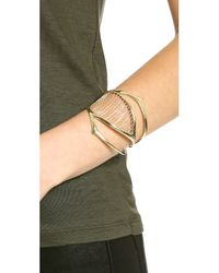 Alexis Bittar - Metallic Chain Ribbed Cuff Bracelet Gold - Lyst