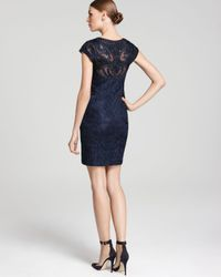 Sue Wong - Blue Lace Dress Illusion Neckline - Lyst