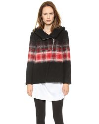 Thakoon Addition - Hooded Trapeze Ombre Jacket Redblack - Lyst
