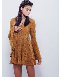 Free People | Natural Goldie Swing Dress | Lyst